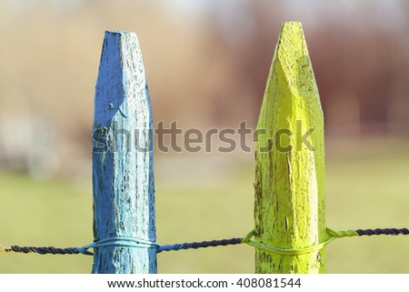 Blue and yellow post