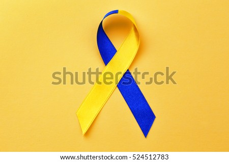 Blueandyellow Ribbon On Color Background Down Stock Photo Royalty