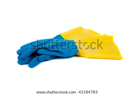 Blue and yellow rubber gloves on a white background
