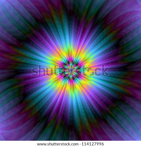 Blue and Yellow Supernova/Digital abstract image with a super nova design in yellow blue and purple.