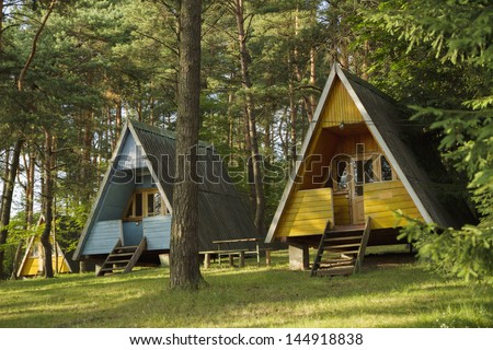 Cabin in the woods stock photos images pictures shutterstock - The recreational vehicle turned cabin in the woods ...