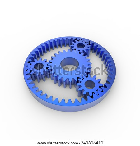 Blue anodized steel planetary gears on a white background - stock photo