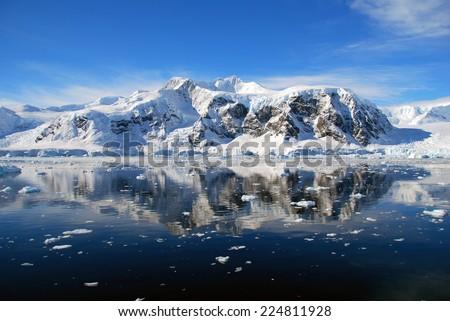 blue antarctic sea - stock photo