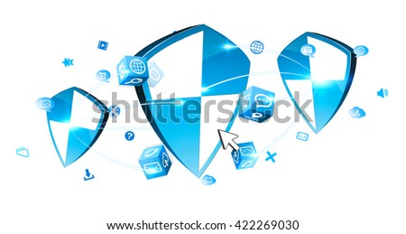 Blue antivirus shield icons connected to each other on white background '3D rendering' - stock photo