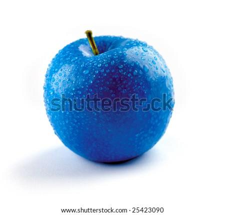 Blue apple isolated on white background - stock photo