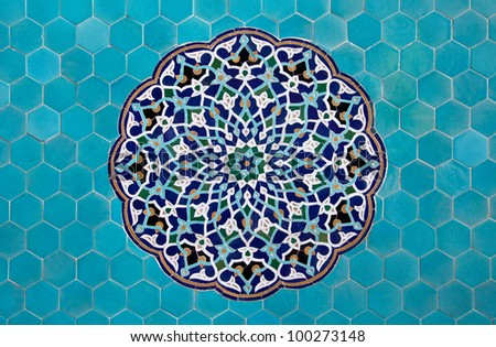 Blue arabesque design inside an old mosque in Yazd, Iran. - stock photo