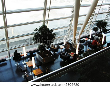 blue arm-chair in airport - stock photo