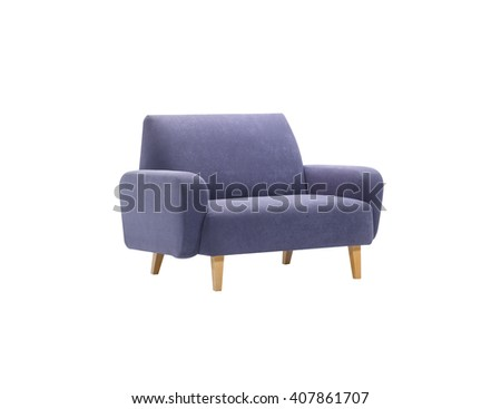 Blue armchair isolated with clipping mask, side view.