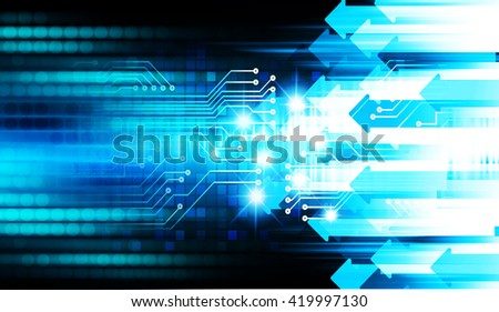 Blue arrow abstract hi speed internet technology background illustration. eye scan virus computer. motion move.