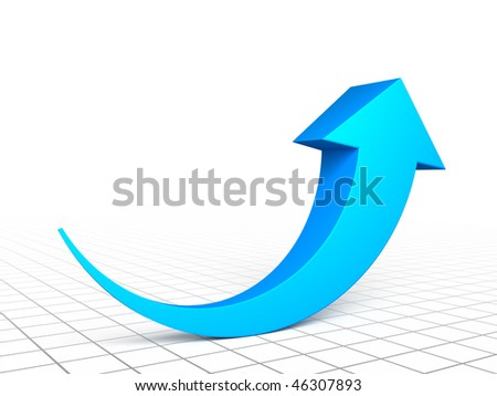 Blue arrow graph - stock photo