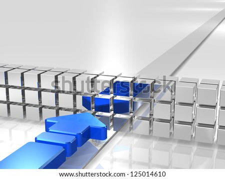 Blue arrow is hampered by obstacles. - stock photo