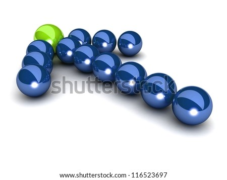 Blue arrow of the balls with the green leader in front. On white background. Business and Sports concept