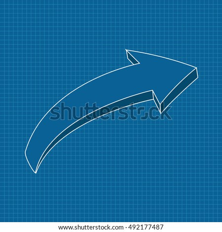 Blue arrow on blueprint grid background. Right. Illustration. Raster version