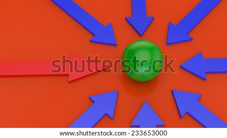 blue arrows and unique red on a orange background point to the green sphere in the center of the image - stock photo