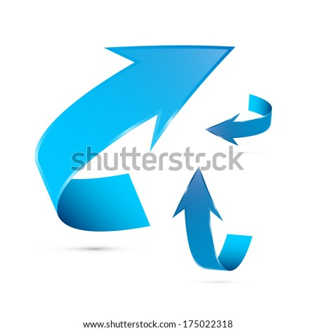Blue Arrows Set Isolated on White Background - Also Available in Vector Version  - stock photo