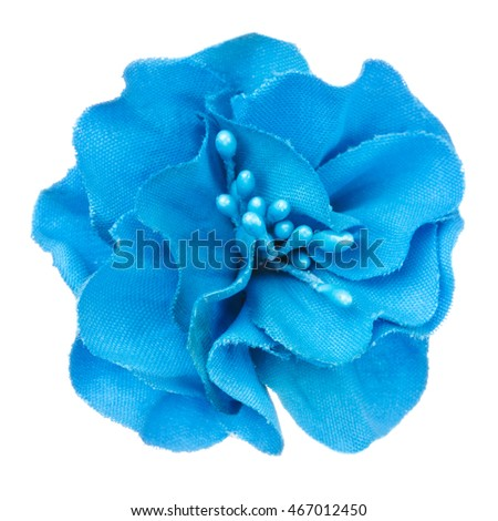 blue artificial flower isolated, beautiful decoration,top view,summer and spring concept