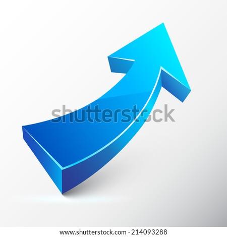 Blue ascending arrow. - stock photo