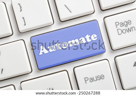 Blue automate key on keyboard - stock photo