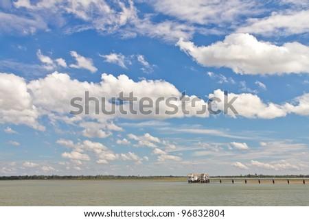 blue autumn lake - stock photo