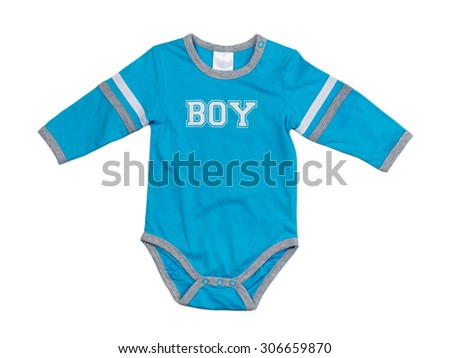 Blue baby clothes bodysuit front view, isolated on white background. - stock photo