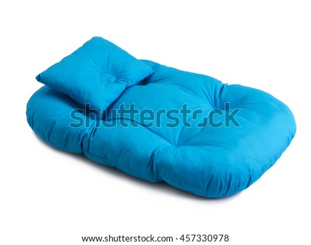 Blue baby pad and pillow isolated on white background