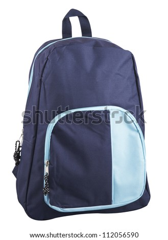 Blue back pack with clipping path
