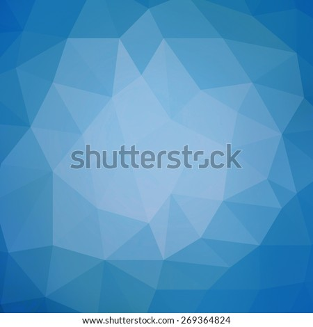 blue background design, triangle shapes in mosaic pattern of diamond facets, low poly triangular style background design texture - stock photo