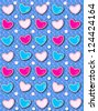 Blue background has pink polka dots and 3D hearts surrounded by tiny, cream colored pearls.  White polka dots are outlined in blue and pink. - stock photo