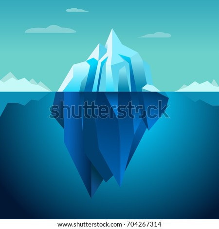 illustration iceberg concept iceberg principle stock vector  blue background iceberg