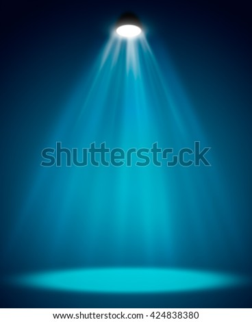 Blue background in show. Spotlight on smog - stock photo