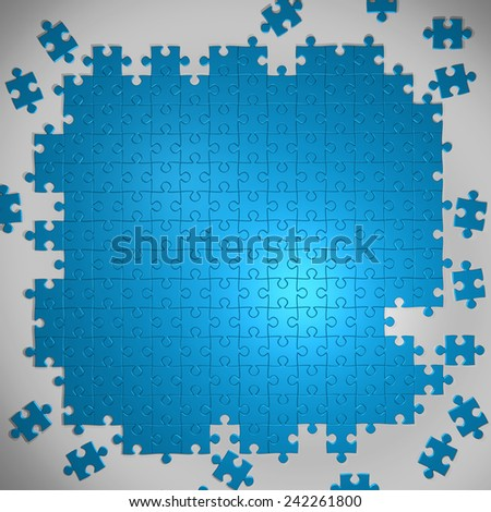 Blue background made from puzzle pieces and place for your content  - stock photo