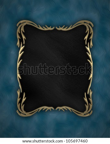 blue background with a black nameplate with gold pattern