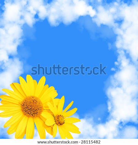 Blue background with a frame from white clouds and flowers