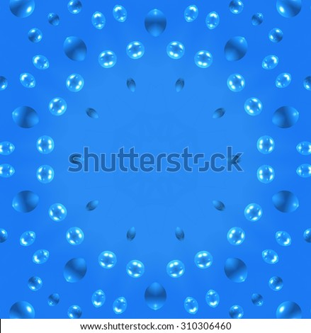 Blue background with abstract air bubbles pattern - stock photo