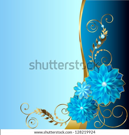 Blue background with angular floral vignette. Raster copy of vector image - stock photo