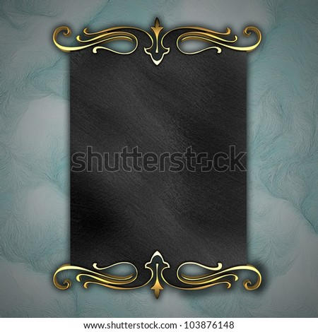 Blue Background with Black plate and a beautiful gold trim