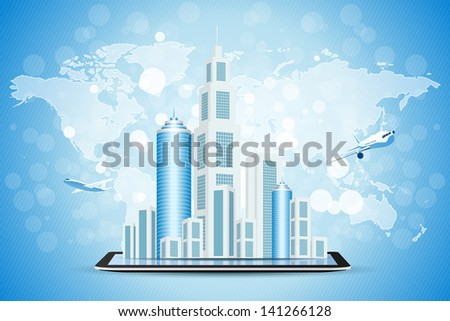 Blue Background with Business City on Tablet Computer, World Map and Aircraft