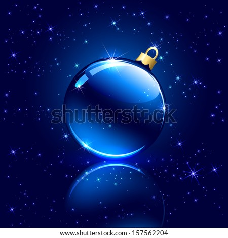 Blue background with Christmas ball and stars, illustration. - stock photo