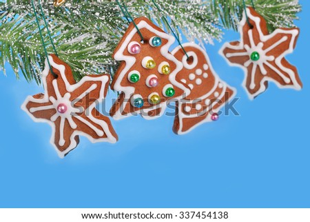 blue background with christmas gingerbread cookies hanging on a fir branch
