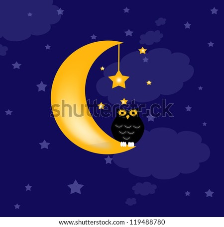 blue background with clouds, the new moon and the stars, and owl - stock photo