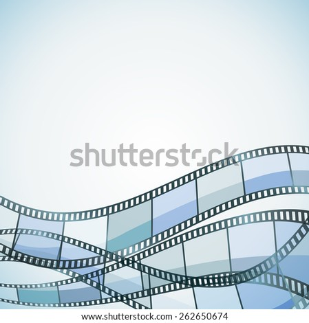 blue background with color filmstrip. raster version - stock photo