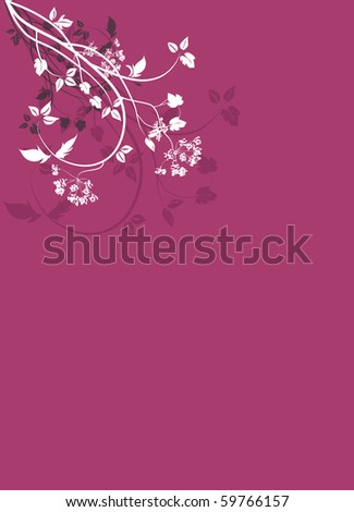 Blue background with flowers and trails illustration