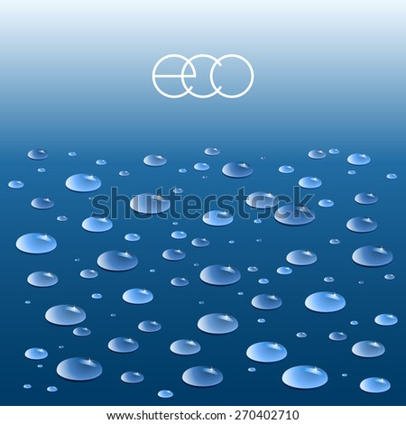 Blue background with pure water drops. Raster version. - stock photo