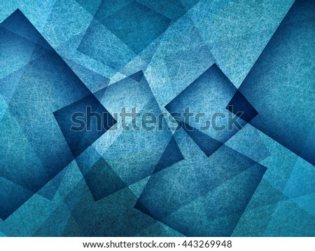 blue background with rectangle and diamond shapes in transparent layers floating in the sky, cool artsy background design - stock photo