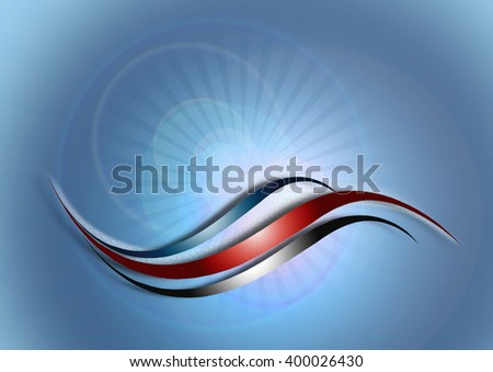 Blue background with shiny curved stripes ondivergentrays withtransparent circles - stock photo