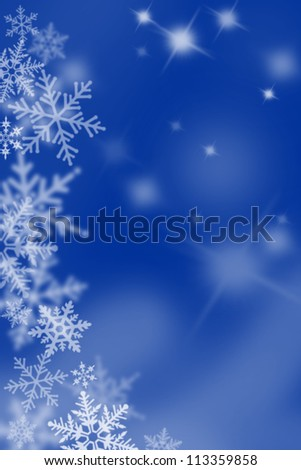 Blue background with snow flakes. - stock photo