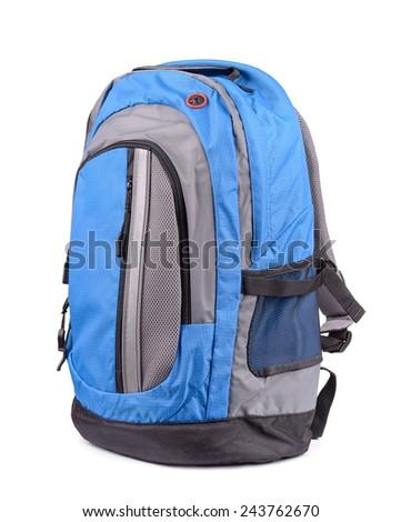 Blue backpack isolated on white - stock photo