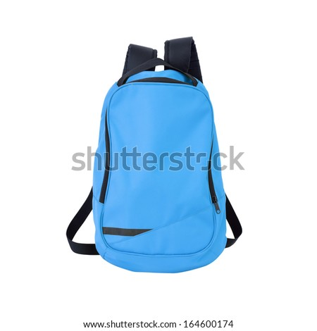 Blue backpack isolated on white background w/ path - stock photo