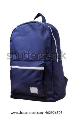 Blue Backpack isolated.White abckgroudn.City backpack