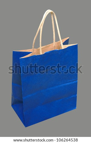 Blue bag paper isolated